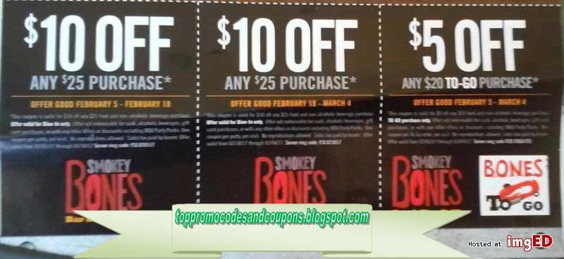 image about Smokey Bones Coupons Printable identify No cost Promo Codes and Coupon codes 2019: Smokey Bones Discount coupons