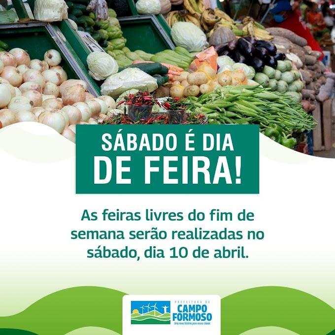 FEIRA LIVRE DE CAMPO FORMOSO SERÁ NO SÁBADO DIA 10 DE ABRIL