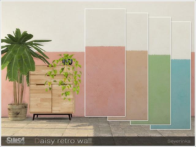 Daisy wall Ромашковая стена для The Sims 4 Ромашковая стенаОпубликовано 16 января 2020 г. Стены в стиле ретро. Окрашенная штукатурка до середины стены. Категория: Стены 4 цвета Автор: Severinka_