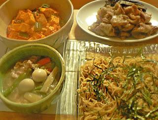 夕食の献立 豚バラナス味噌炒め 豆腐オクラのラー油炒め うま煮 冷やし中華