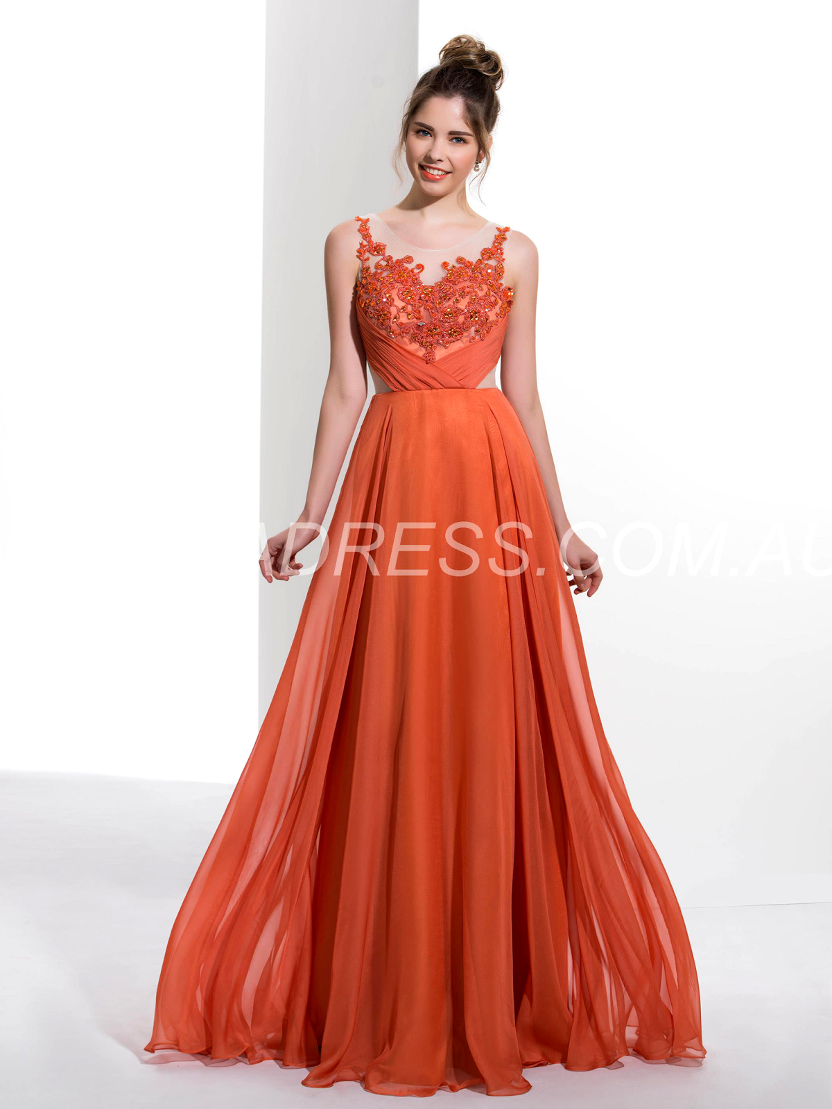 Floor-Length Prom Sleeveless Beading Glamorous & Dramatic Summer Zipper-up Orange Dress