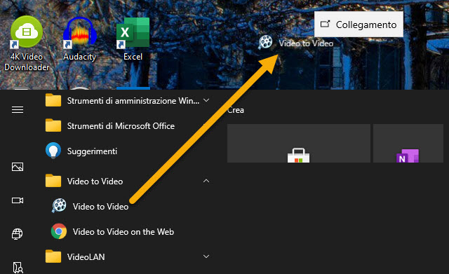 creare collegamento nel desktop
