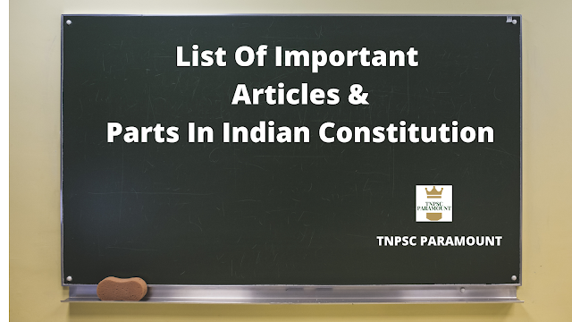 List Of Important Articles & Parts In Indian Constitution