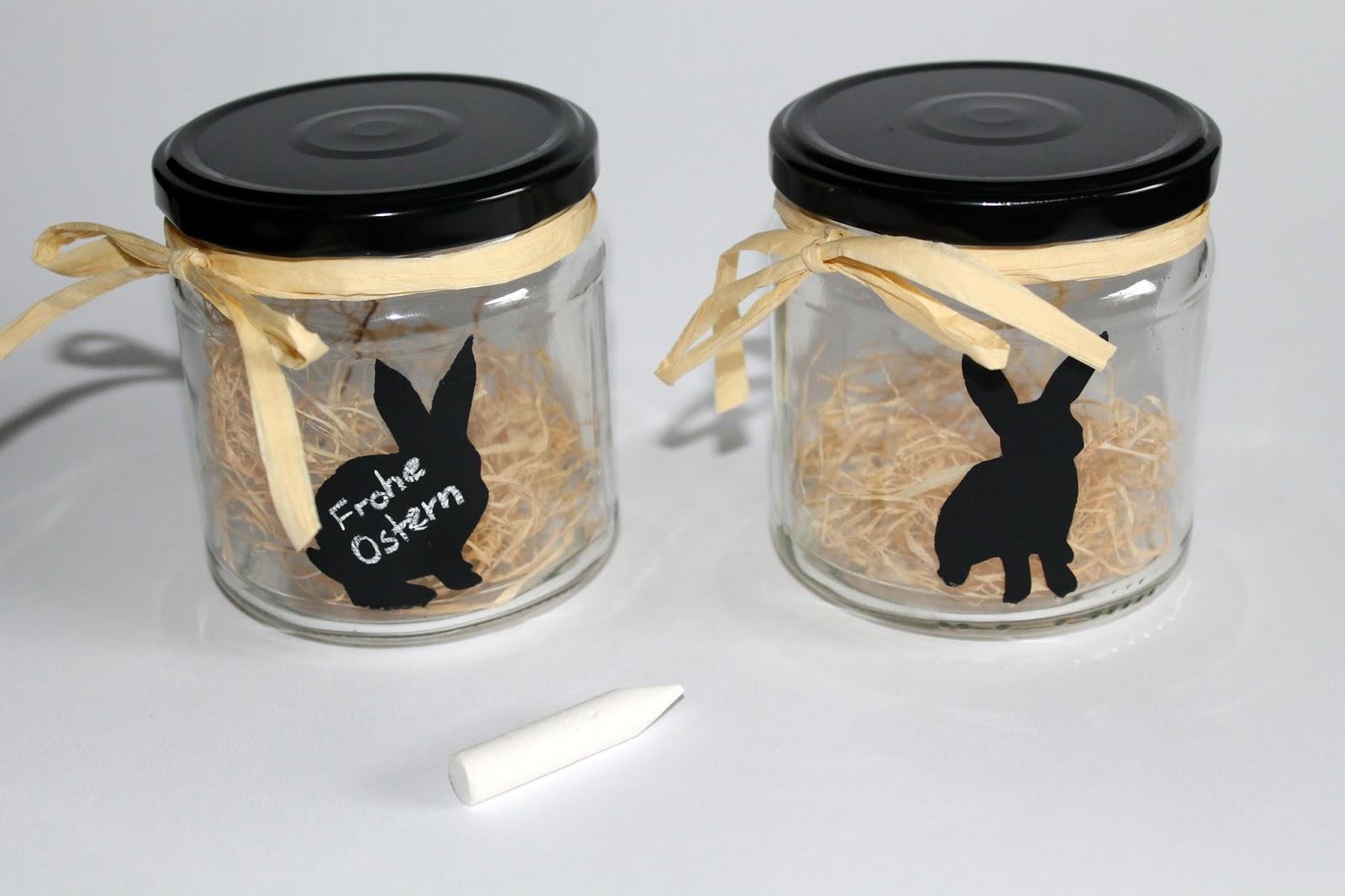 DIY, Basteln: Vorratsgläser mit Tafellackhasen Upcycling / Recycling in Osterdekoration, Wohndekoration und Geschenkideen - DIYCarinchen