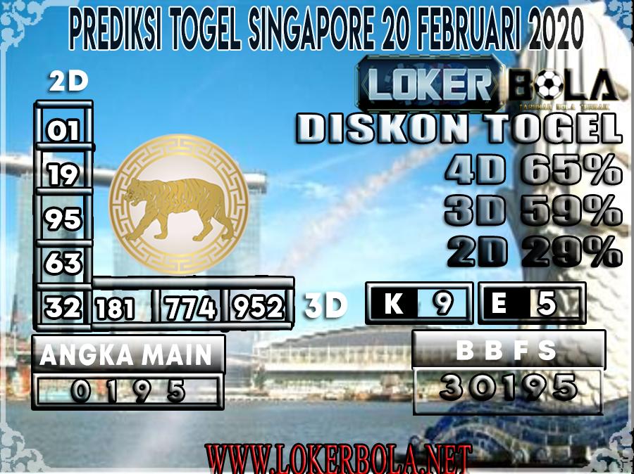 PREDIKSI TOGEL SINGAPORE LOKERBOLA 20 FEBRUARI 2020