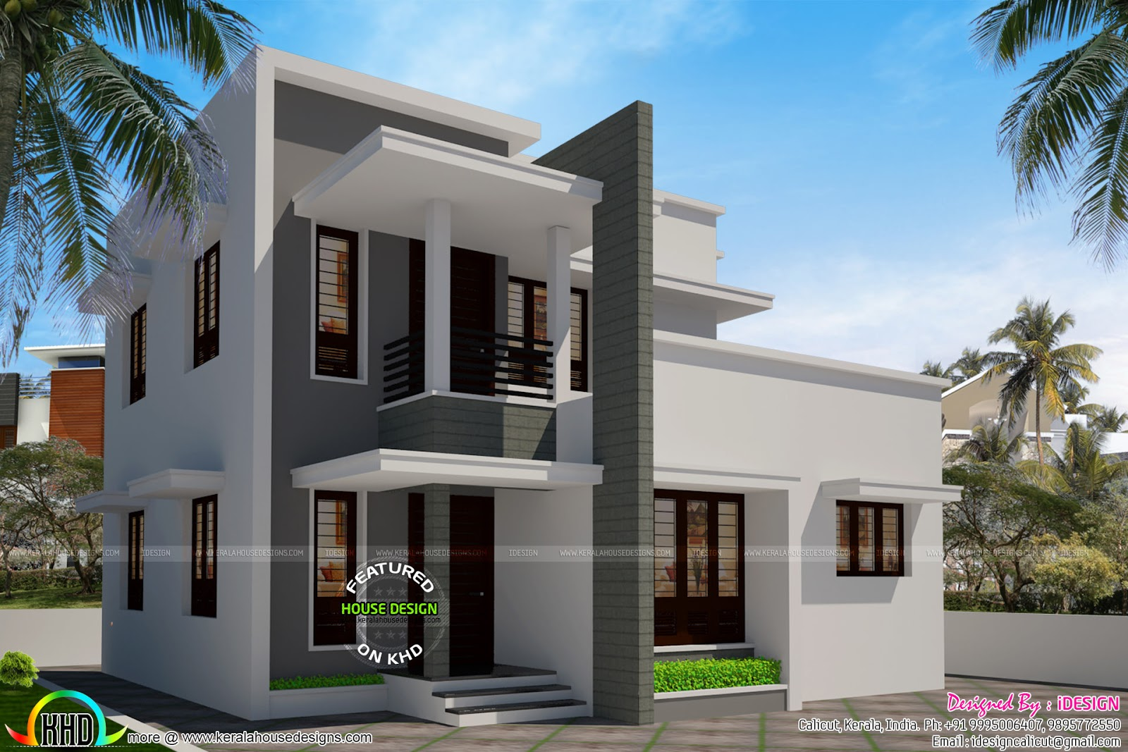 Simple flat roof house 1540 sq ft kerala home design and for House plans with simple roof designs