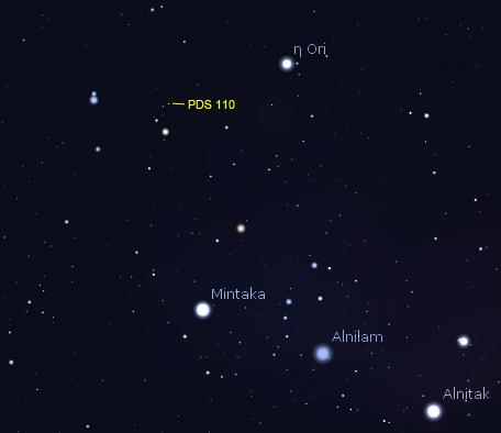 Localização exata da estrela PDS 110