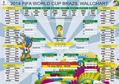 Download FREE Brazil 2014 World Cup SCHEDULE POSTER