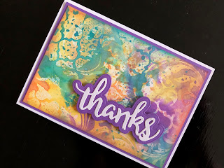 Hand Made Thanks Card with Micro Glaze Resist Stencilling and Distress Oxides