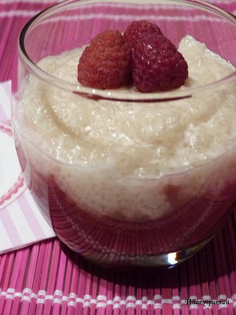 Tapioca au lait de coco et coulis fraise-framboise