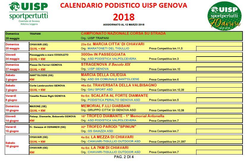 Giuseppe Rosati Calendario.Genova Di Corsa Marzo 2018