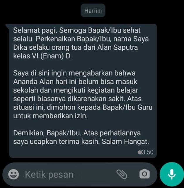Contoh Surat Izin Tidak Masuk Sekolah yang Dikirim via Whatsapp