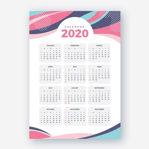 Plantilla de calendario gratis 2020 abstracto