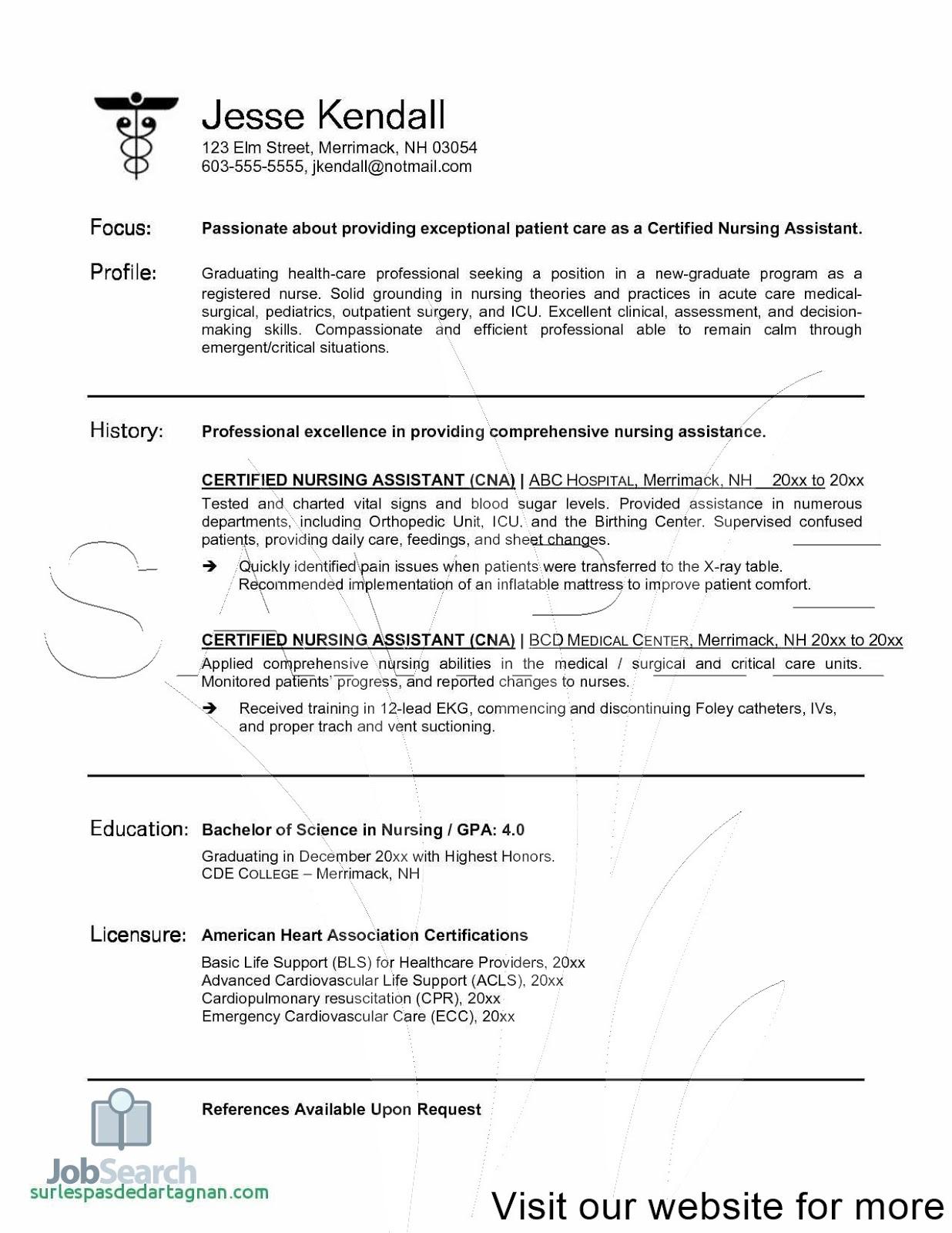 Cna Resume Samples 2020 Nursing Assistant Resume Samples
