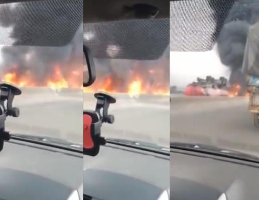 Petrol Tanker Burning Along Lagos-Ibadan Expressway (Video)