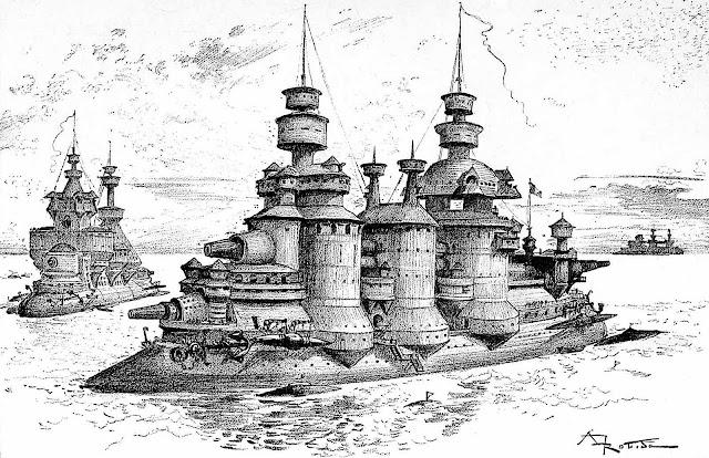 Albert Robida 1893 war ships in retrofuture