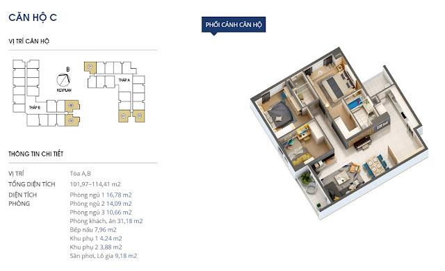 Thiết kế căn hộ C - 101 và 114m2 - Rivera Park