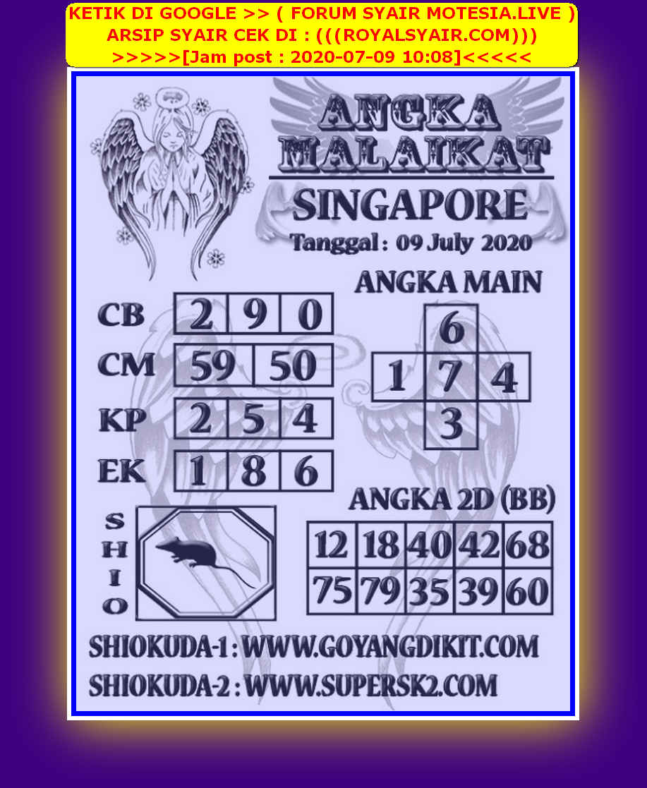 Kode syair Singapore Kamis 9 Juli 2020 119