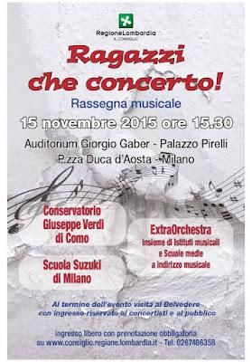 """Milano Palazzo Pirelli """"Ragazzi che concerto!"""" 15/11/2015"""