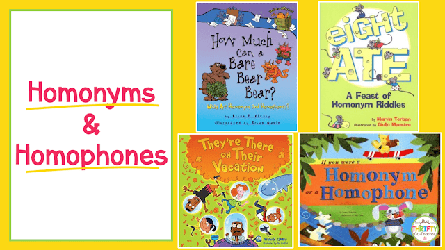 Here is a list of picture books to teach homonyms and homophones. Use these to introduce commonly confused words and engage your upper elementary students.