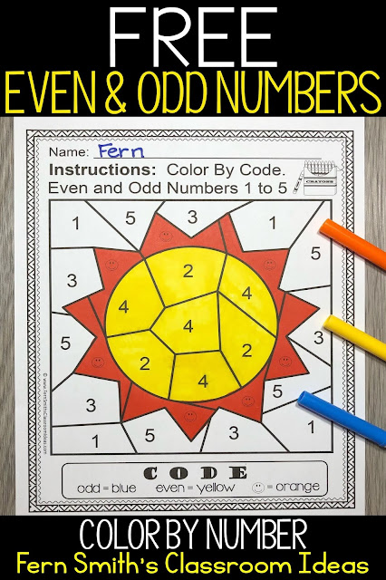 FERN'S FREEBIE FRIDAY ~ EVEN AND ODD NUMBERS COLOR BY NUMBERS FREEBIE