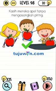 level 98 Kasih mereka apel tanpa mengosongkan piring brain test