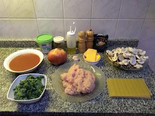Lasaña de pollo y espinacas