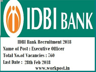 IDBI Bank Executive Officer Recruitment 2018