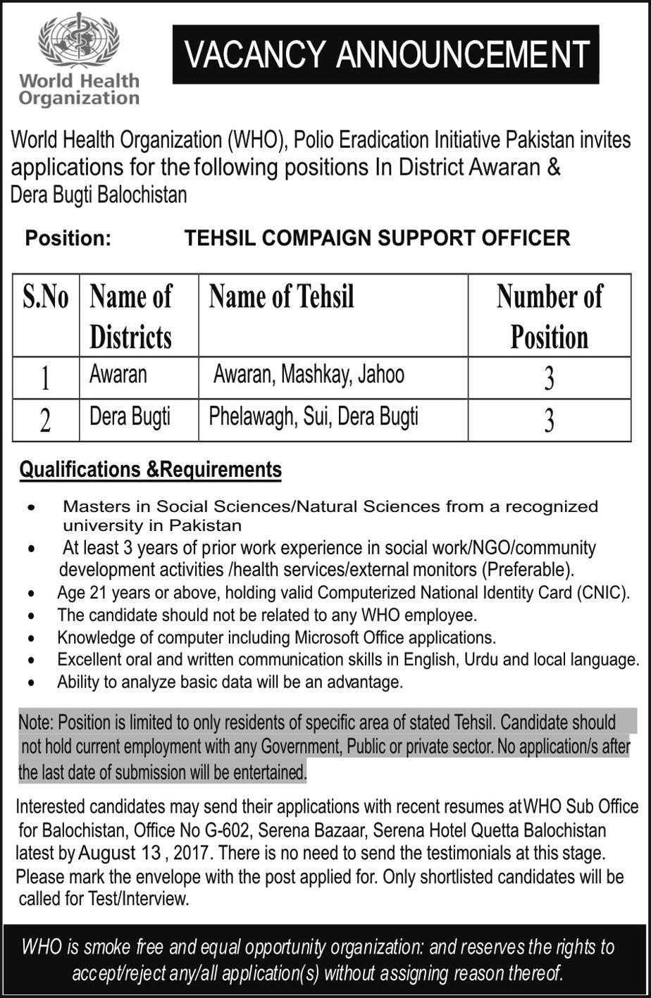 Jobs In World Health Organization Awaran Dera Bugti 2 Aug 2017