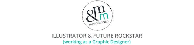 Logo Metro&medio Designs, Ilustradora, diseñadora gráfica y futura rockstar