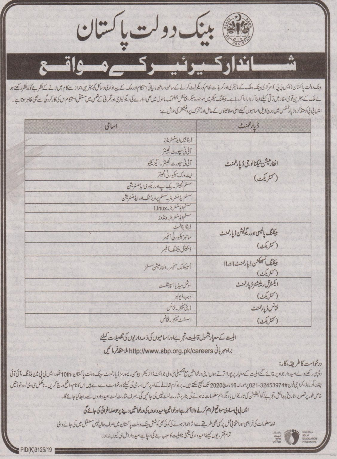 Jobs in State Bank of Pakistan 2020
