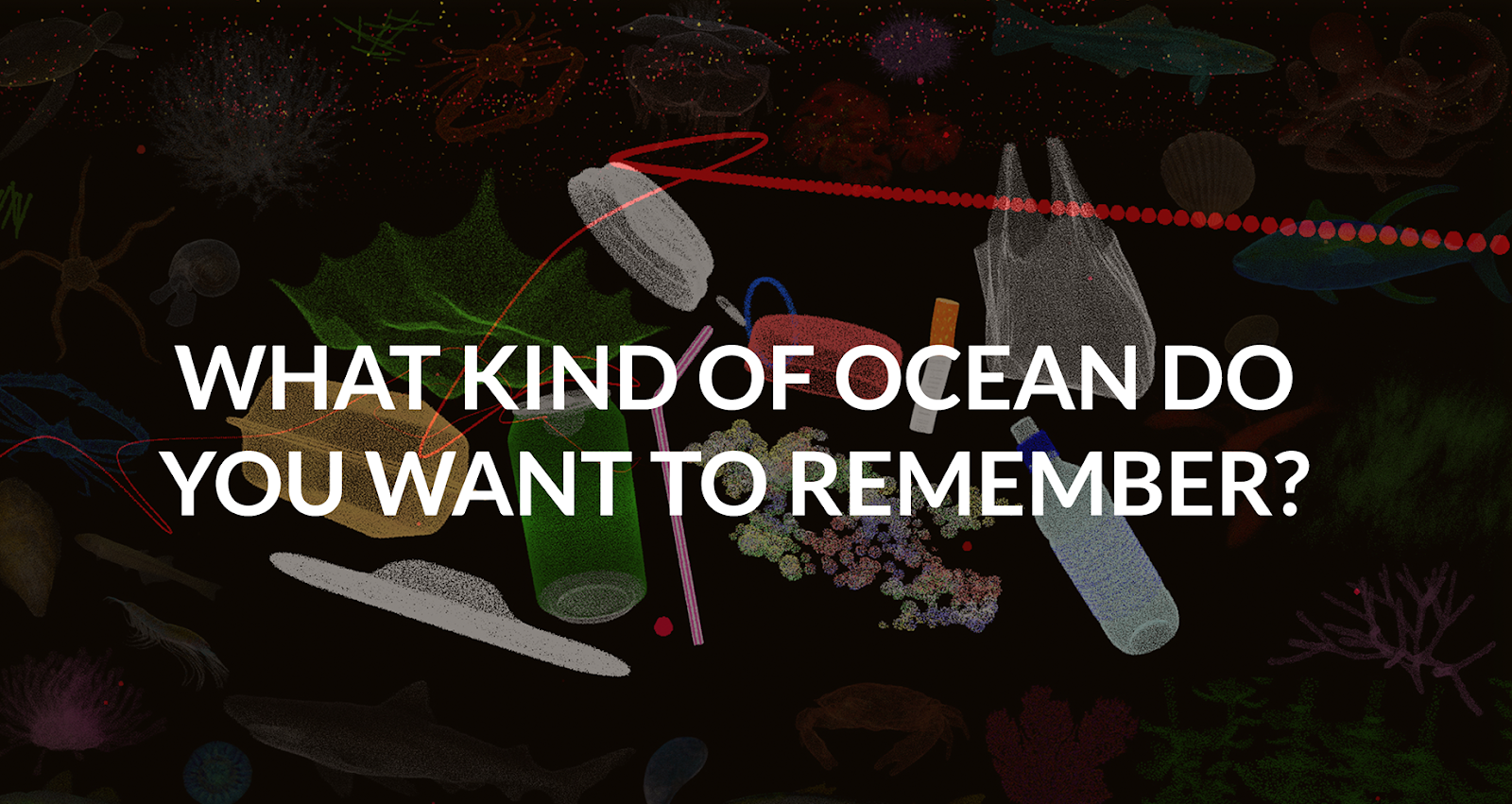 "Illustration, die den Schriftzug ""What Kind of ocean do you want to remember"" zeigt"