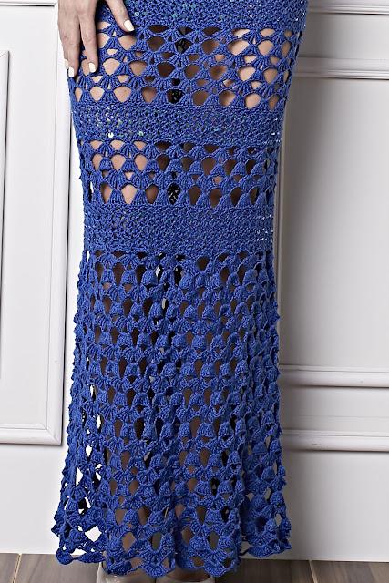 Vestido tomara que caia de crochê com lantejoulas - Receita e gráfico