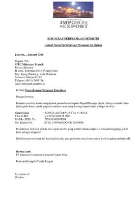 Surat Pinjaman Conatiner Ke Pelayaran Indonesia
