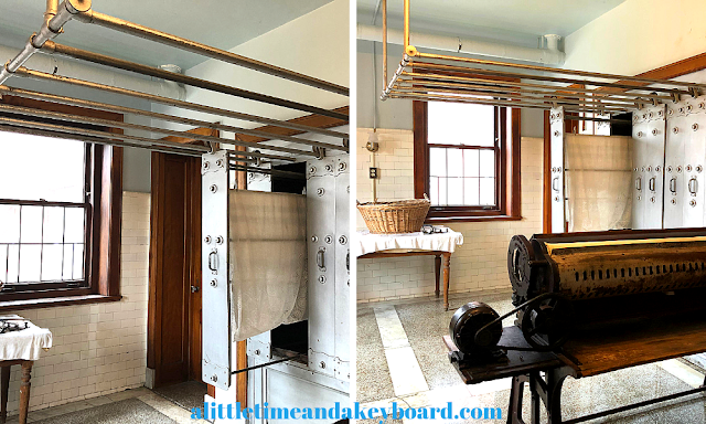 Sliding clothes rack and drying chamber as well as gas mangle press in the laundry room at Glensheen