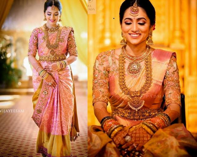 Bride in Zardosi Work Pattu Saree