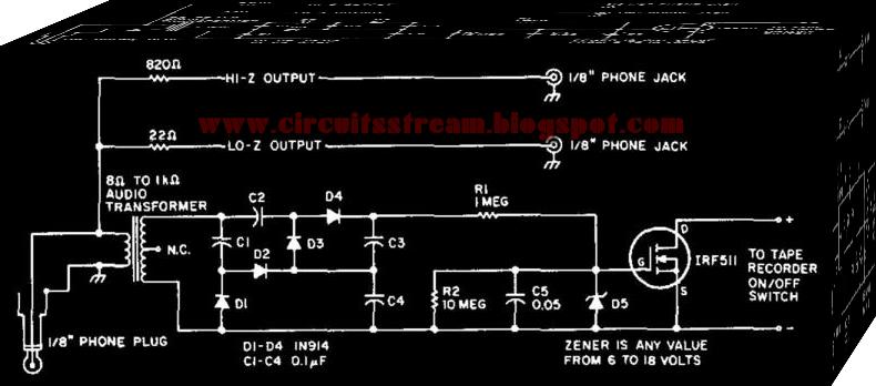 Audio Powered Tape Recorder Controller Circuit Diagram
