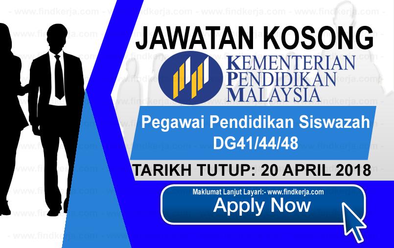 Jawatan Kerja Kosong MOE - Kementerian Pendidikan Malaysia logo www.findkerja.com april 2018