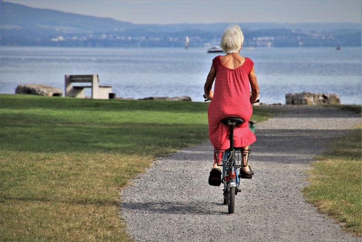 retired woman on bike