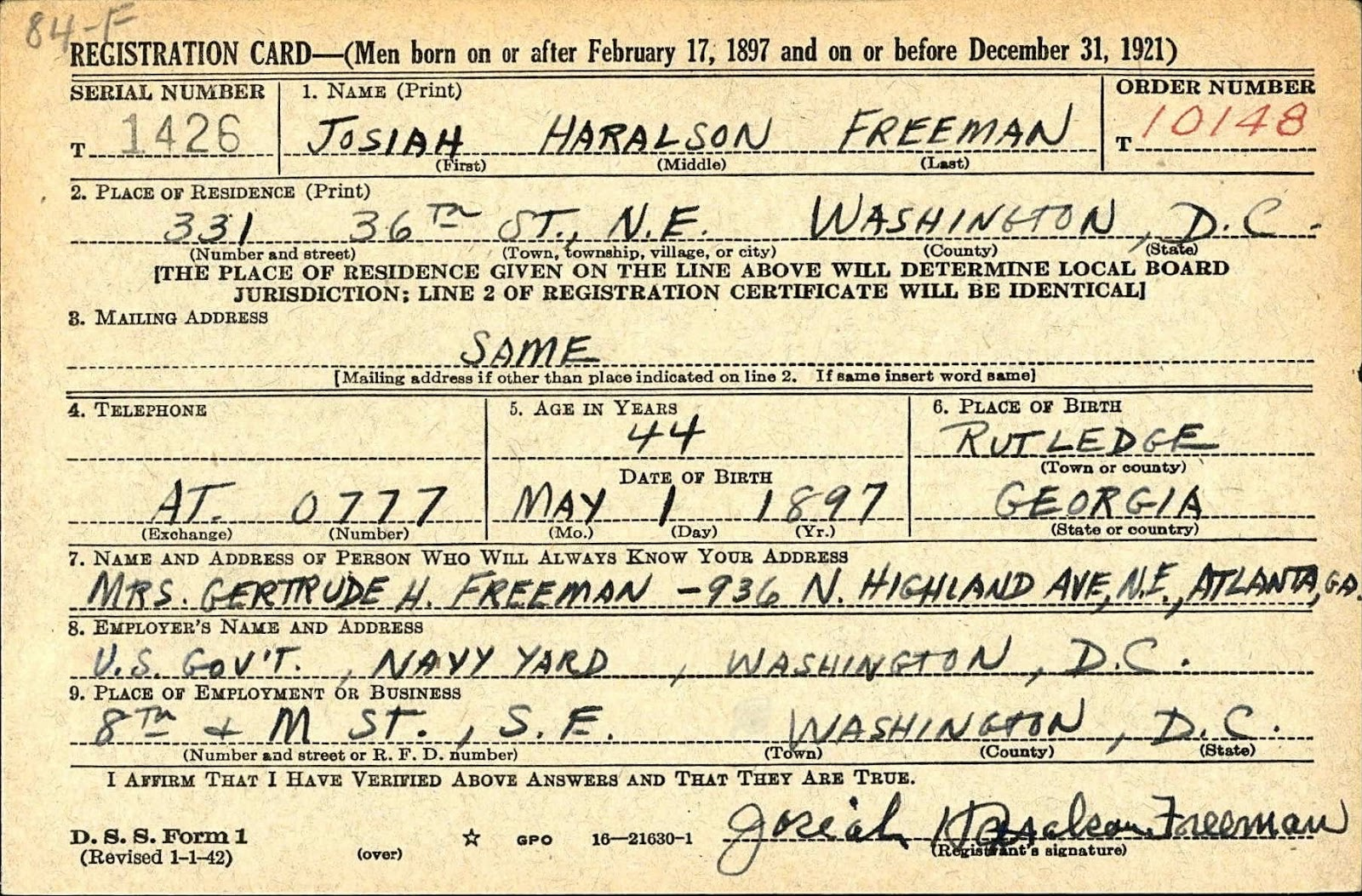 Ancestry island draft registration cards for district of columbia 10161940 03311947 fold3 original source the national archive xflitez Choice Image