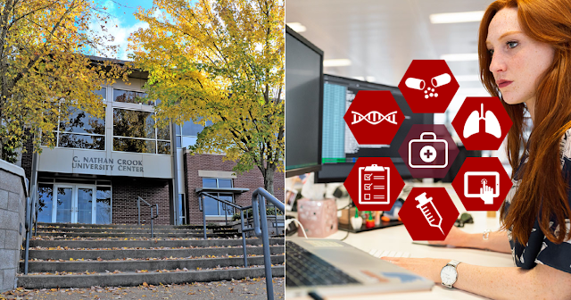 images of the UACCM campus at a woman stationed at a computer