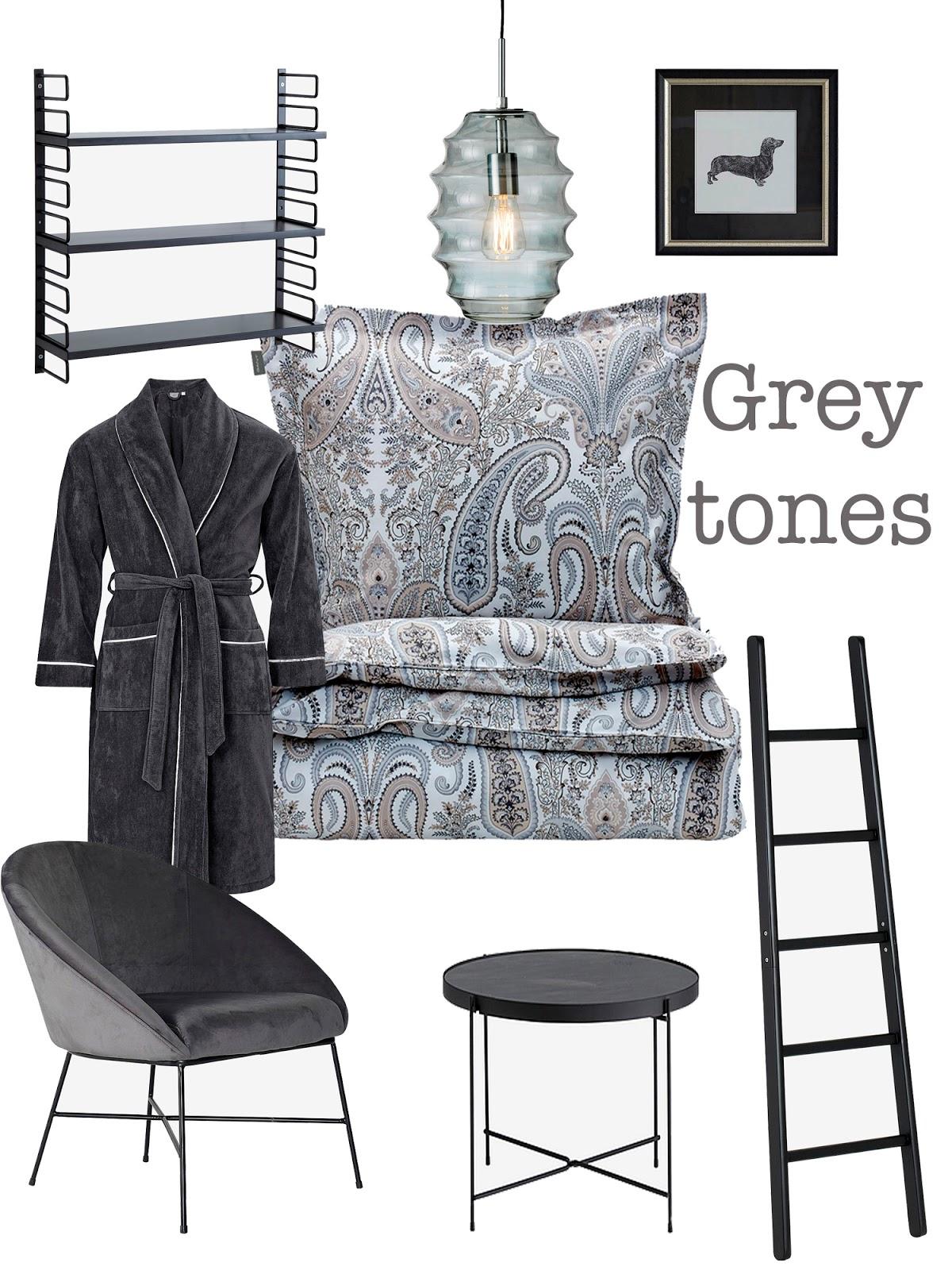 bedroom decor in grey tones