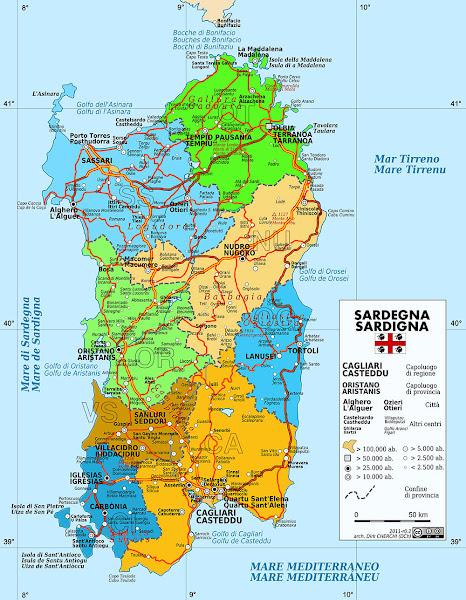 Mapa da Ilha da Sardenha - Itália