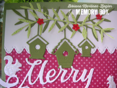 christmas card traditional colors detail birdhouses