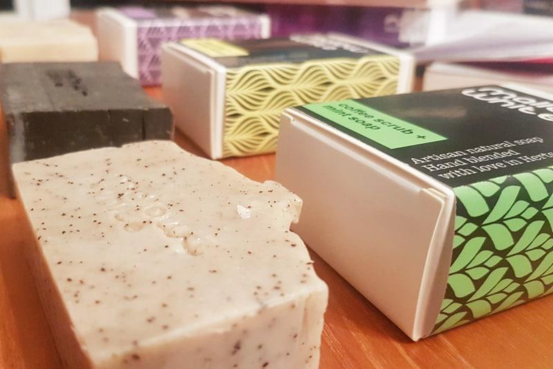 Mallow + White soaps - coffee mint bar, lemon clay bar