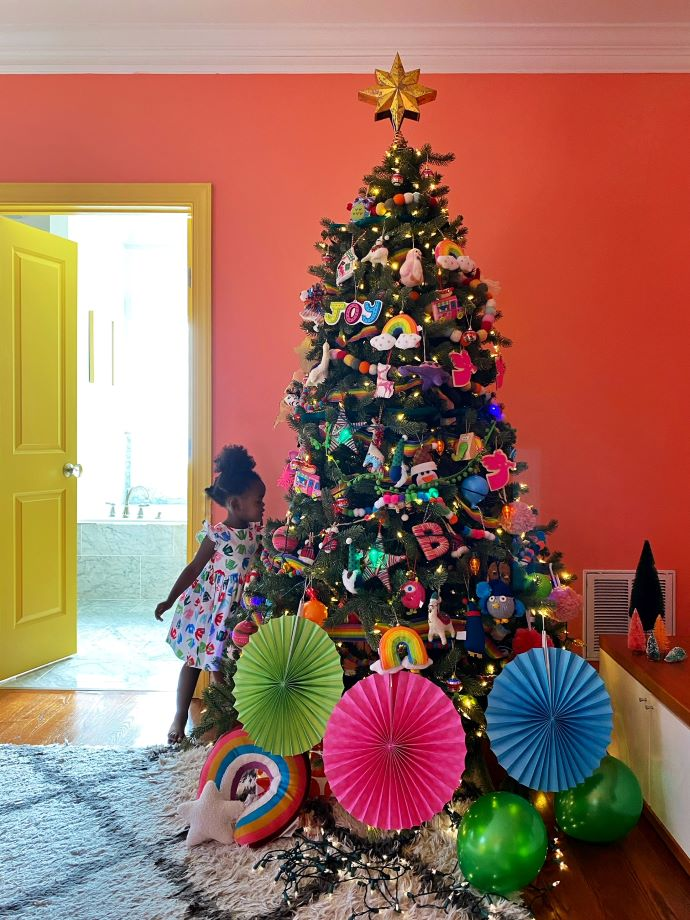 Colorful Christmas Tree in Master Bedroom
