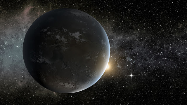 An artist imagining Kepler-62f, a potentially habitable exoplanet discovered using data from the Kepler Spacecraft