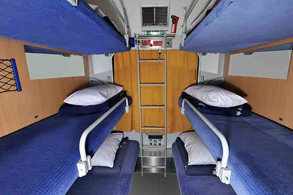 Sleeper couch in night trains in Italy
