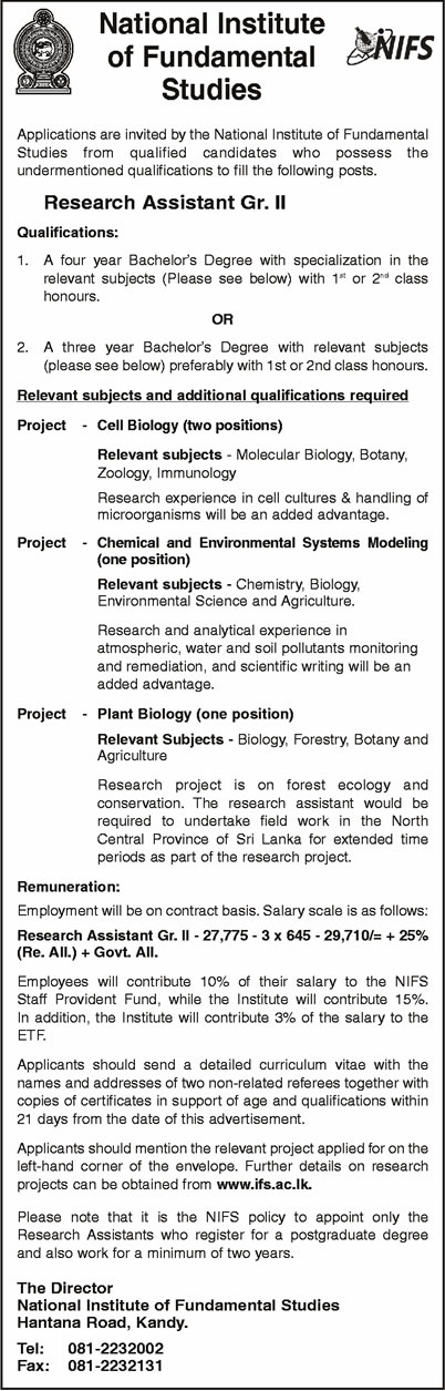 Vacancies - Research Assistant GR.II - National Institute of Fundamental Studies
