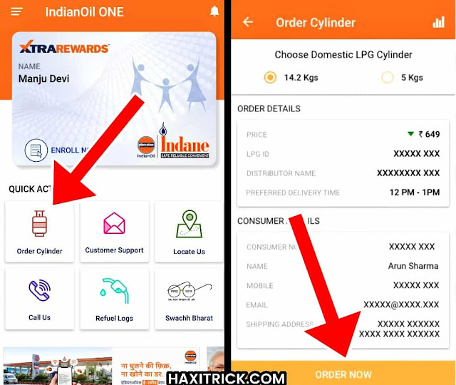 Order Indane Gas Cylinder using IndianOil One Android app